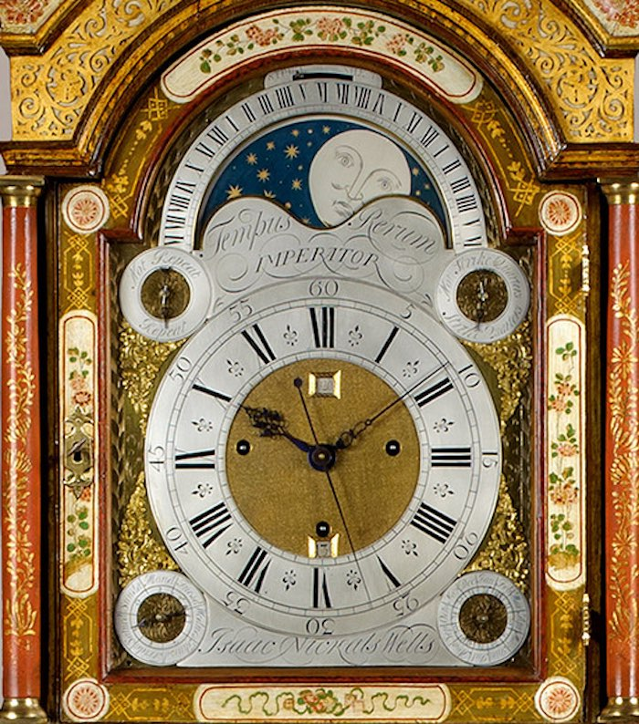 ISAAC NICKALS. AN IMPORTANT GEORGE II PERIOD CREAM LACQUER THREE-TRAIN LONGCASE CLOCK
