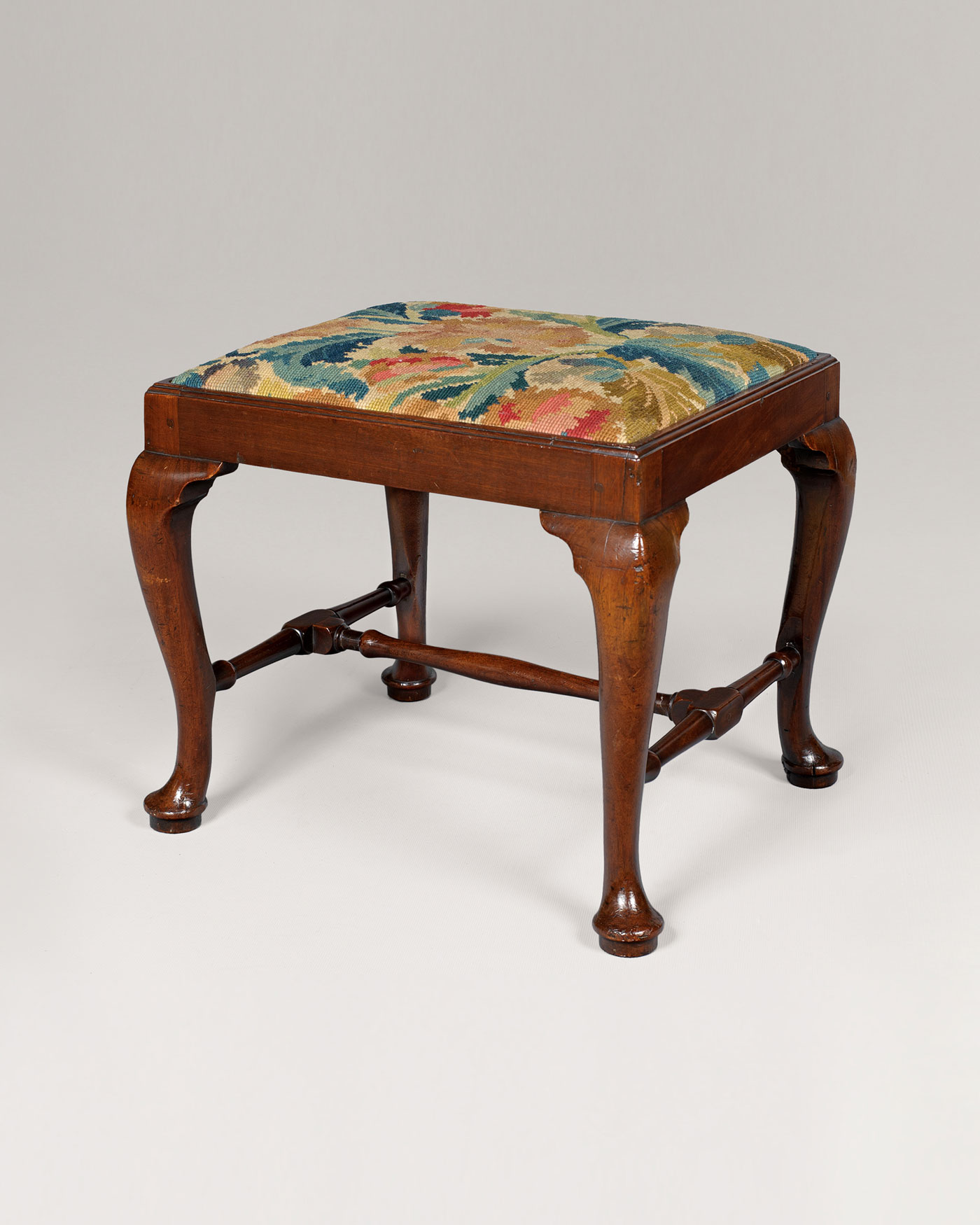 GEORGE II PERIOD STOOL WITH 18TH CENTURY NEEDLEWORK