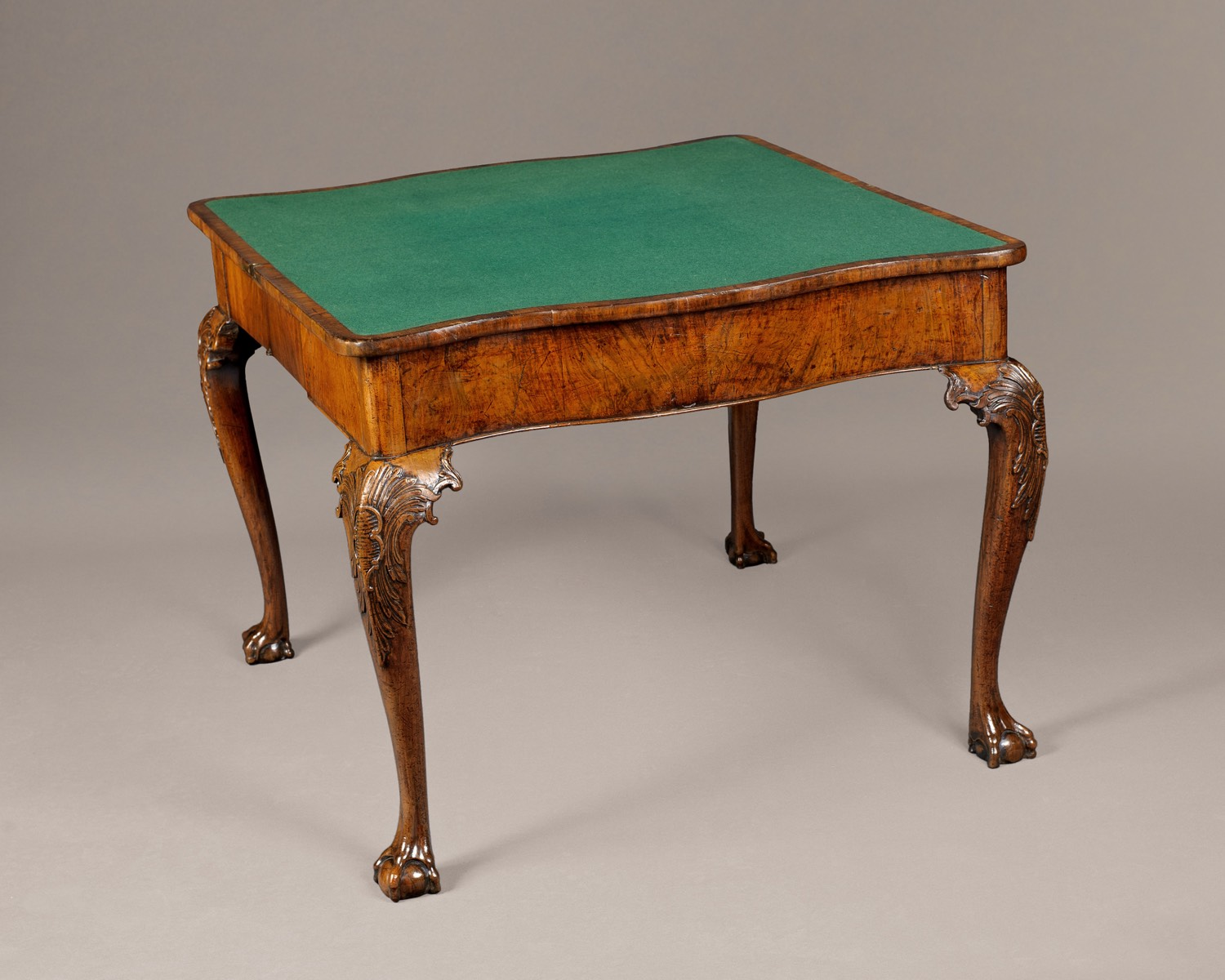 GEORGE I CONCERTINA ACTION WALNUT CARD TABLE