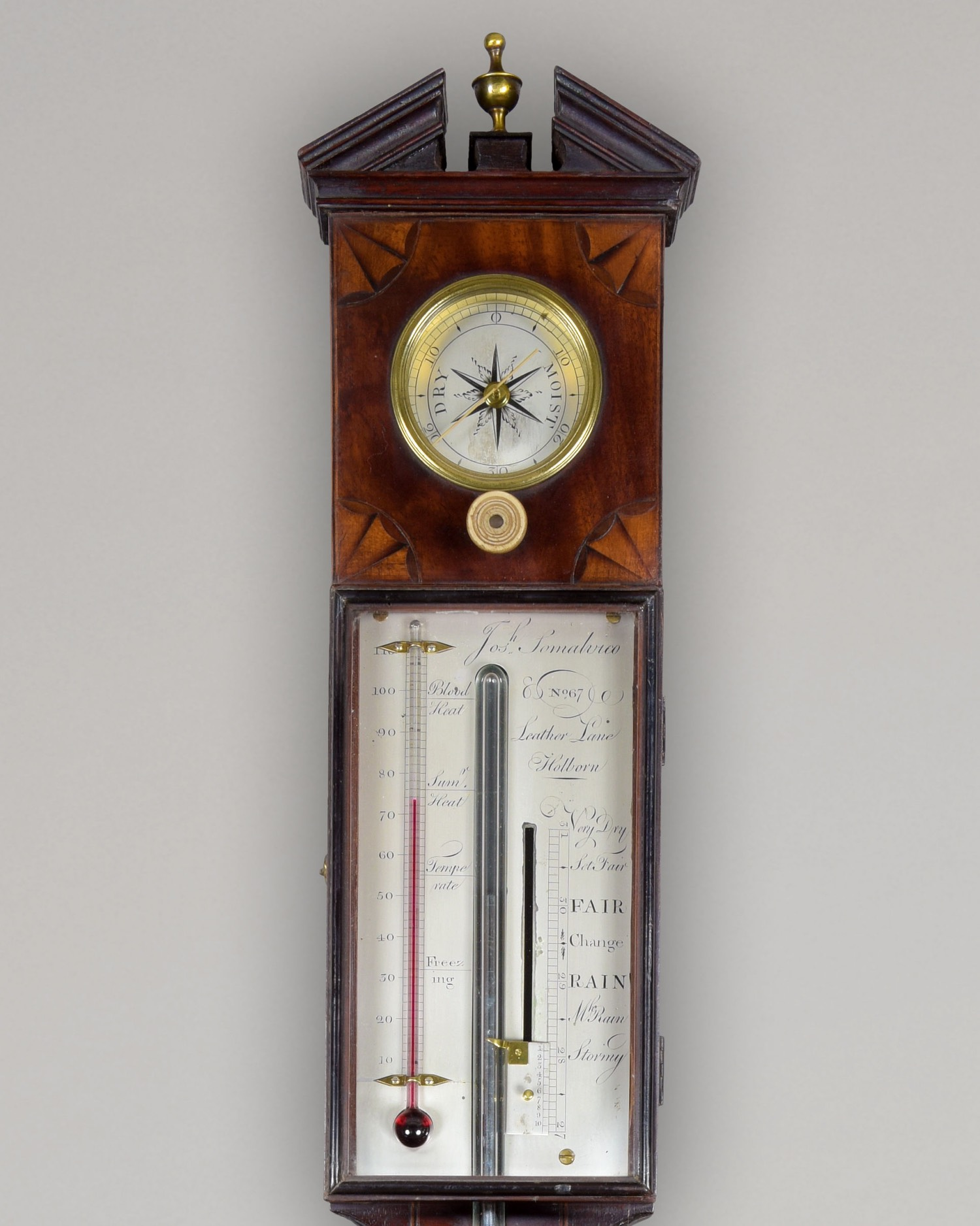 JOSEPH SOMALVICO N° 67 LEATHER LANE, HOLBORN. A FINE LATE GEORGE III PERIOD ARCHITECTURAL MAHOGANY DOOR STICK BAROMETER.